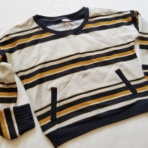 Anthropologie Sweaters - The Odells Black Cream Striped Pullover Sweater L